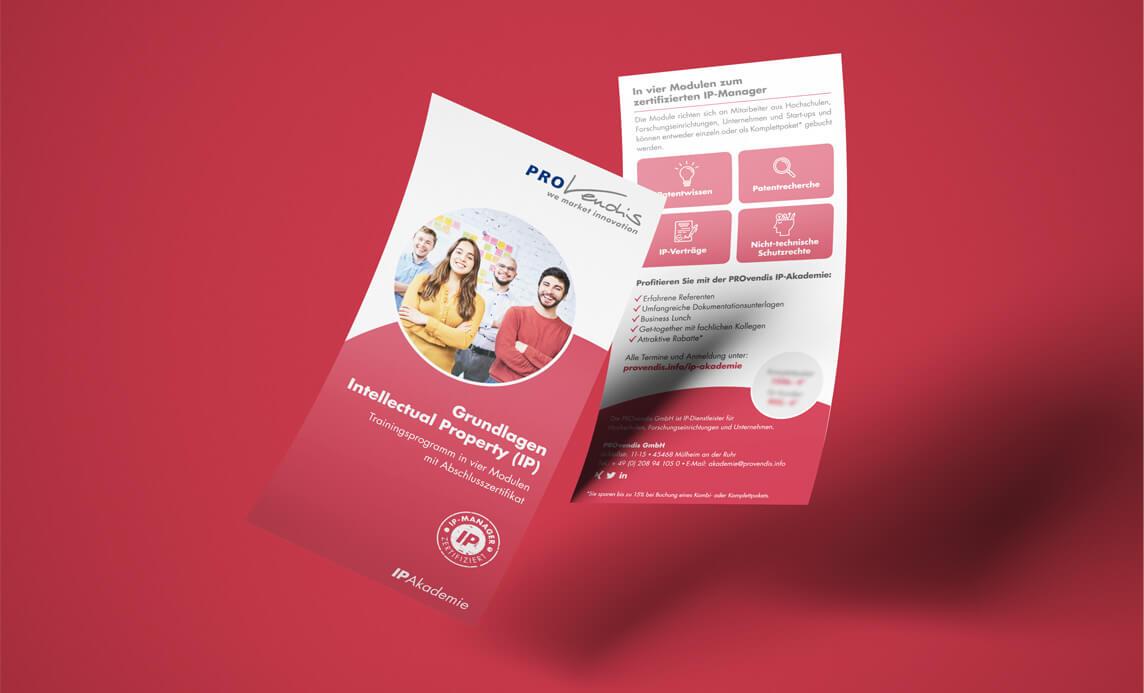 mediadesign linke portfolio - PROvendis GmbH Mülheim - Flyer für die IP Akademie - Grundlagen Inellectual Property