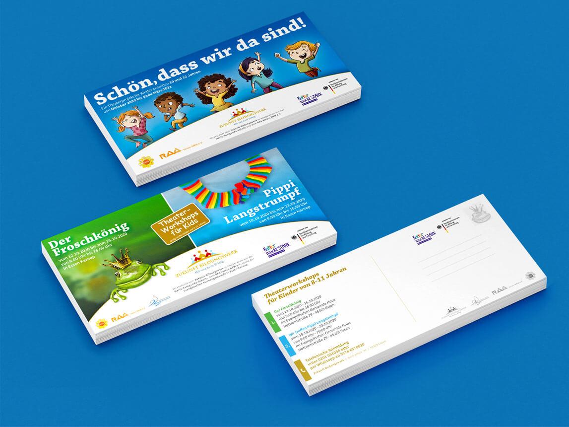 mediadesign linke - flyer für das Zukunft Bildungswerk in Essen im Rahmen aktueller Theaterstücke für Kinder 2020 und 2021