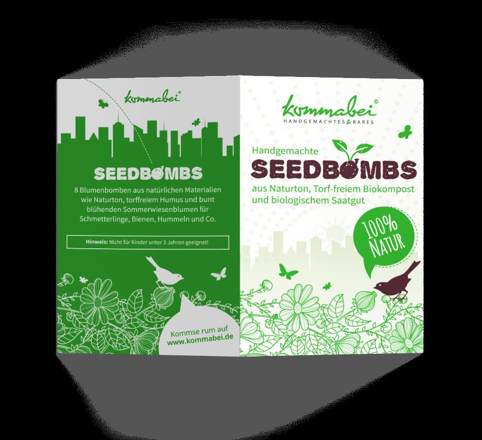 mediadesign linke - portfolio - kommabei essen Hangtag für Seedbombs