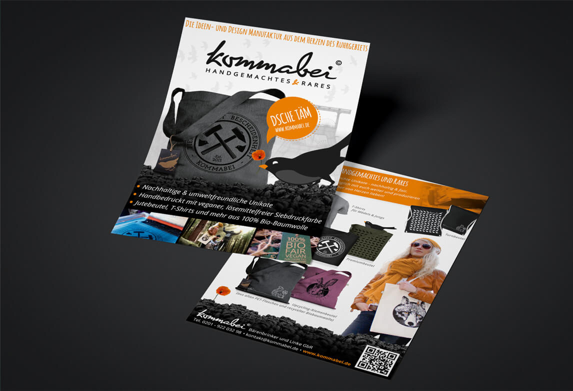 mediadesign linke - Flyer Gestaltung für Kommabei - Handgemachtes und Rares