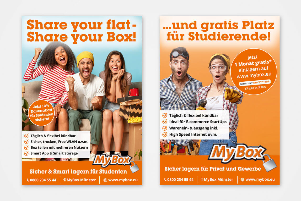 mediadesign linke Design für einen MyBox Flyer 2015 (Din Lang Hochformat, 6-seitig) und Anzeige im Format Din A6