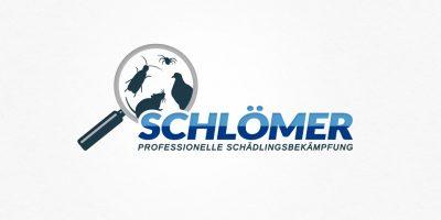 Logo Design | mediadesign linke Logoentwicklung Schlömer Schädlingsbekämpfung in Hagen: Logo mit Lupe und Schädlingen sowie dem Schriftzug Schlömer - Professionelle Schädlingsbekämpfung