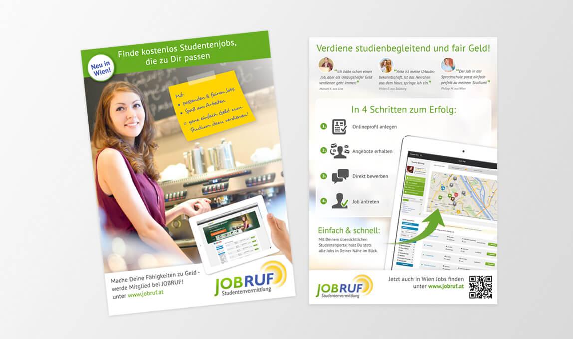 Jobruf Studentenvermittlung Flyer Wien 2015 - kostenlos Studentenjobs finden in Wien mit Jobruf