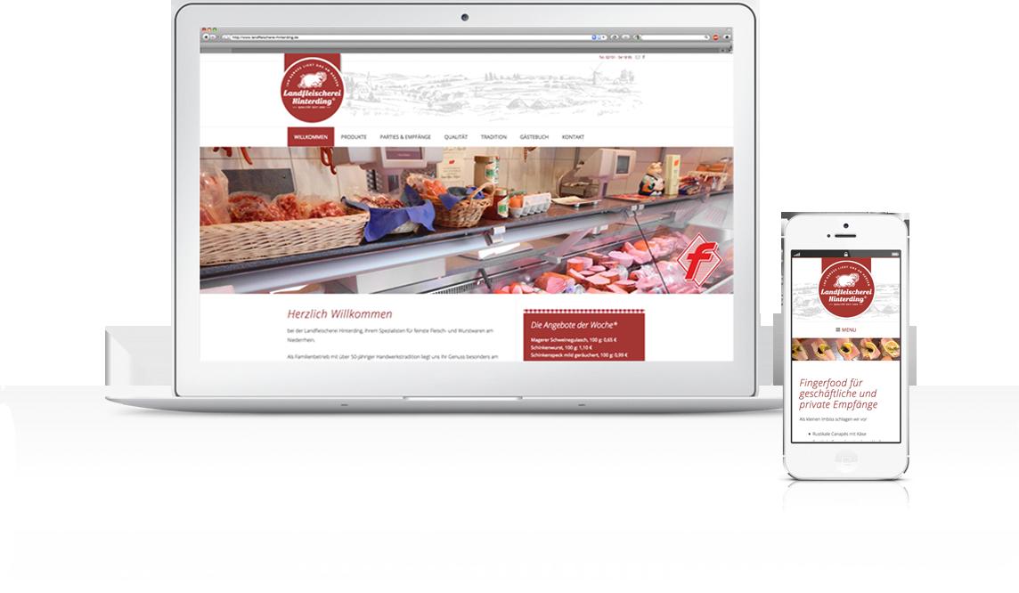 mediadesign linke - Webdesign / neuer Internetauftritt (Webseite) für die Landfleischerei Hinterding in Krefeld Oppum