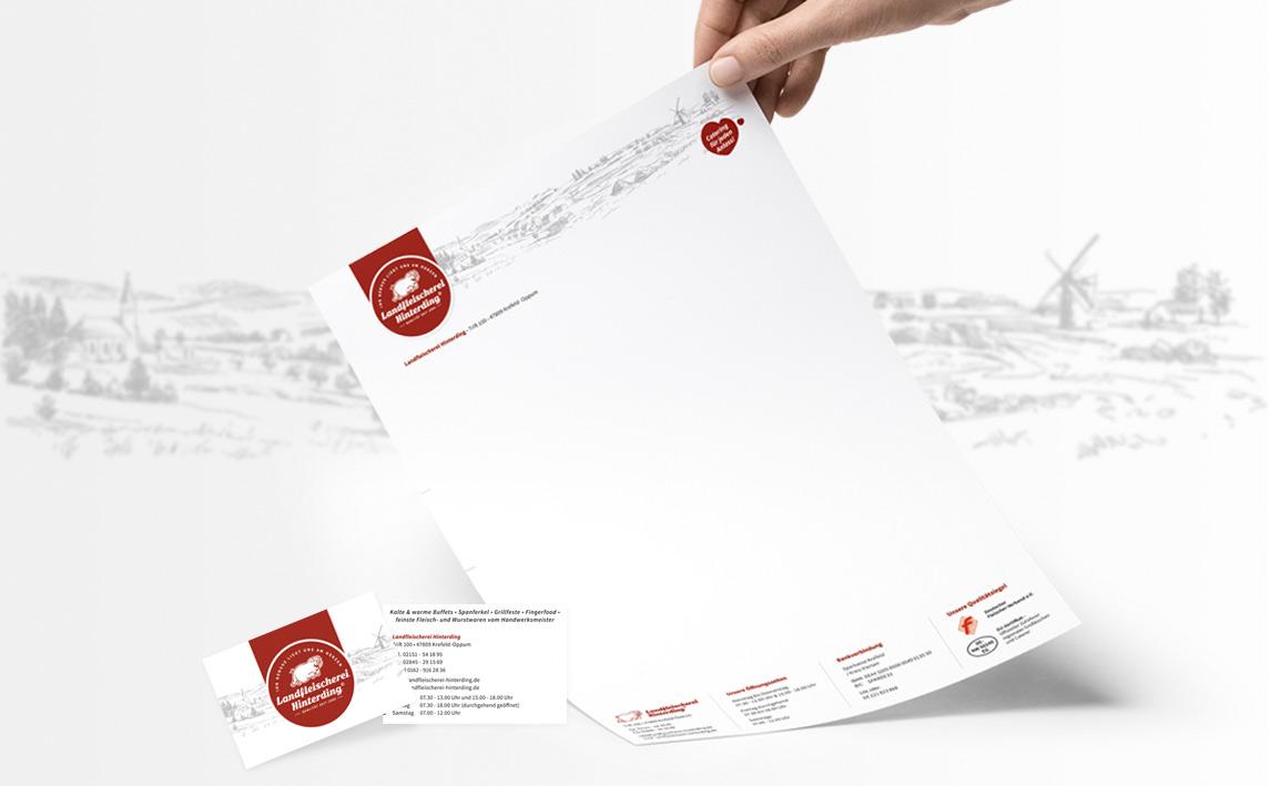 mediadesign linke - logoentwicklung / Logo Design sowie Briefpapier und Visitenkarten für die Landfleischerei Hinterding in Krefeld Oppum