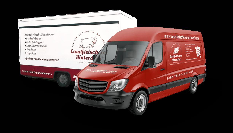 mediadesign linke - Fahrzeugbeschriftung / Transporter Design für die Landfleischerei Hinterding in Krefeld Oppum