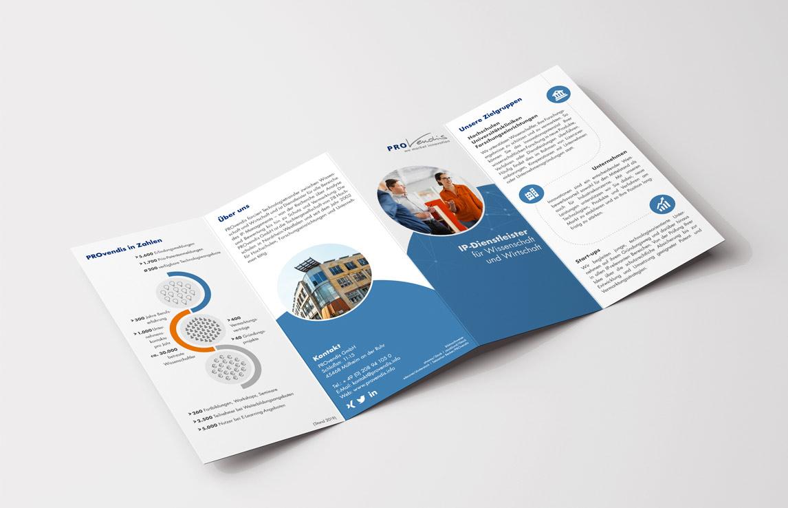 mediadesign linke portfolio - PROvendis GmbH Mülheim - Flyer Gestaltung und Layout