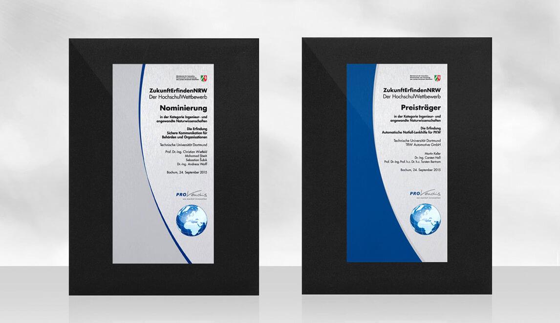 mediadesign linke portfolio - PROvendis GmbH Mülheim - Gestaltung von PROVendis Urkunden Aludibond bedruckt auf Pappe kaschiert für die Preisverleihung des Provendis HochschulWettbewerb 2015