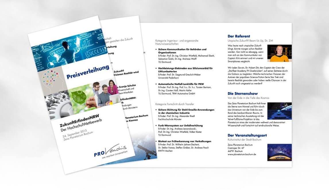 mediadesign linke portfolio - PROvendis GmbH Mülheim - Gestaltung eines Flyer / Informationsträger
