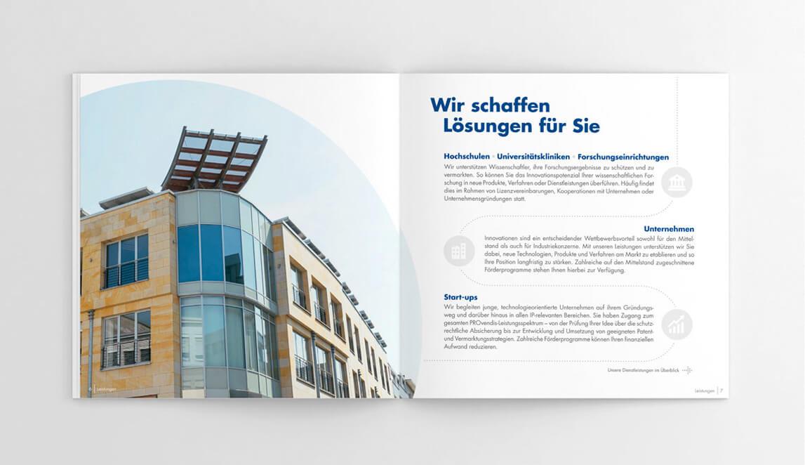 mediadesign linke portfolio - PROvendis GmbH Mülheim - Imagebroschüre 2018