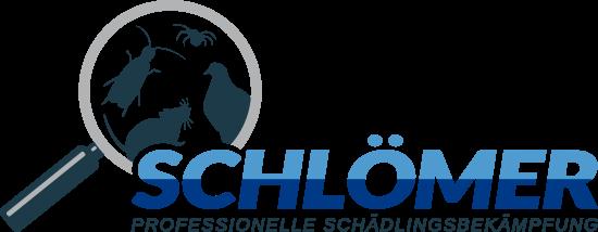 mediadesign linke Logoentwicklung / Logodesign  Schlömer Schädlingsbekämpfung in Hagen: Logo mit Lupe und Schädlingen sowie dem Schriftzug Schlömer - Professionelle Schädlingsbekämpfung
