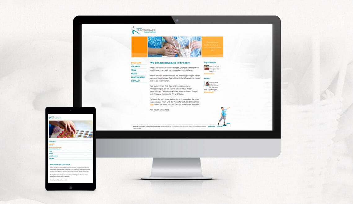 Webdesign aus Essen von mediadesign linke - responsive Webseite von der Ergotherapie Melanie Schaffrath und Ansicht auf einem Tablet / Smartphone und Monitor
