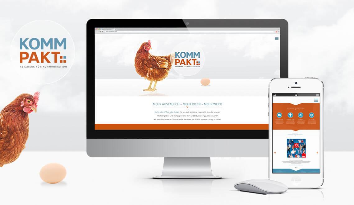 Webdesign aus Essen von mediadesign linke - Ansicht einer Grafik mit einem Monitor und Smartphone mit jeweils einem Teilbereich der Website www.kommpakt-netzwerk.de auf den Displays