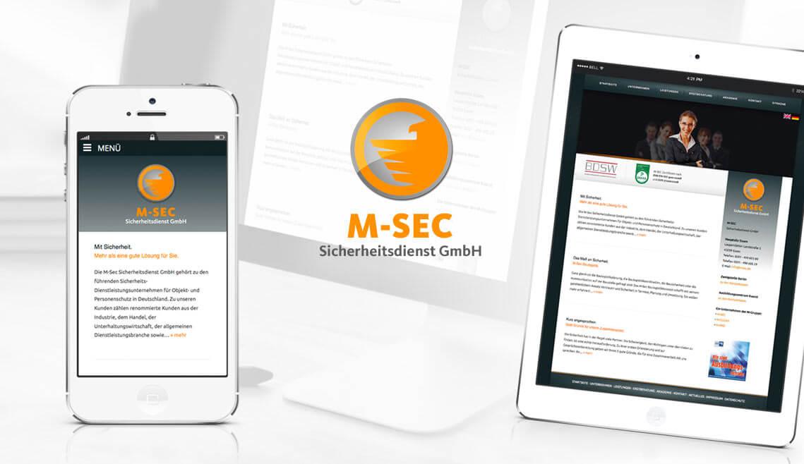 Webdesign aus Essen von mediadesign linke - Ansicht eines Smartphones und Tablets mit der Website www.msec.de der M-SEC Sicherheitsdienst GmbH in Essen auf den beiden Displays