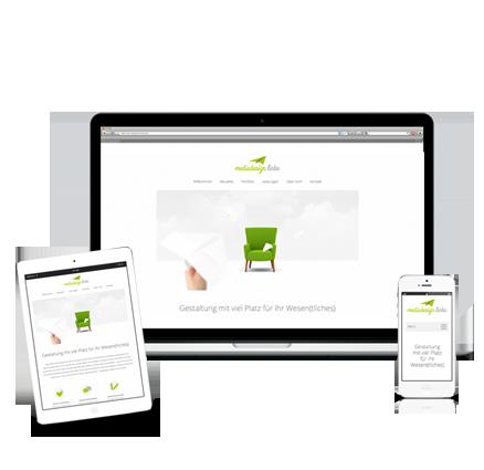 Design Leistungen | Webdesign aus Essen von mediadesign linke - Ihr Internetauftritt nach Maß von mediadesign linke - Ansicht eines Tablets, Laptops und Smartphones mit einem einheitlichen Design von mediadesign linke / Webdesigner
