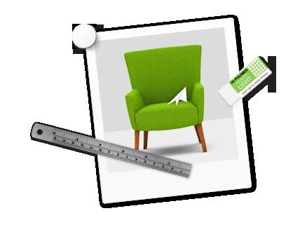 Design Leistungen | mediadesign linke - Polaroidfoto mit grünem Stuhl und Papierflieger sowie einem Radiergummi und einem Lineal